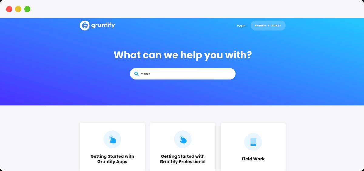 Gruntify help center screenshot